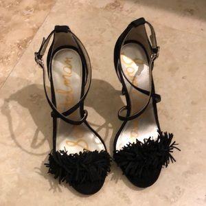 Sam Edelman size 7 Black Fringe suede heels